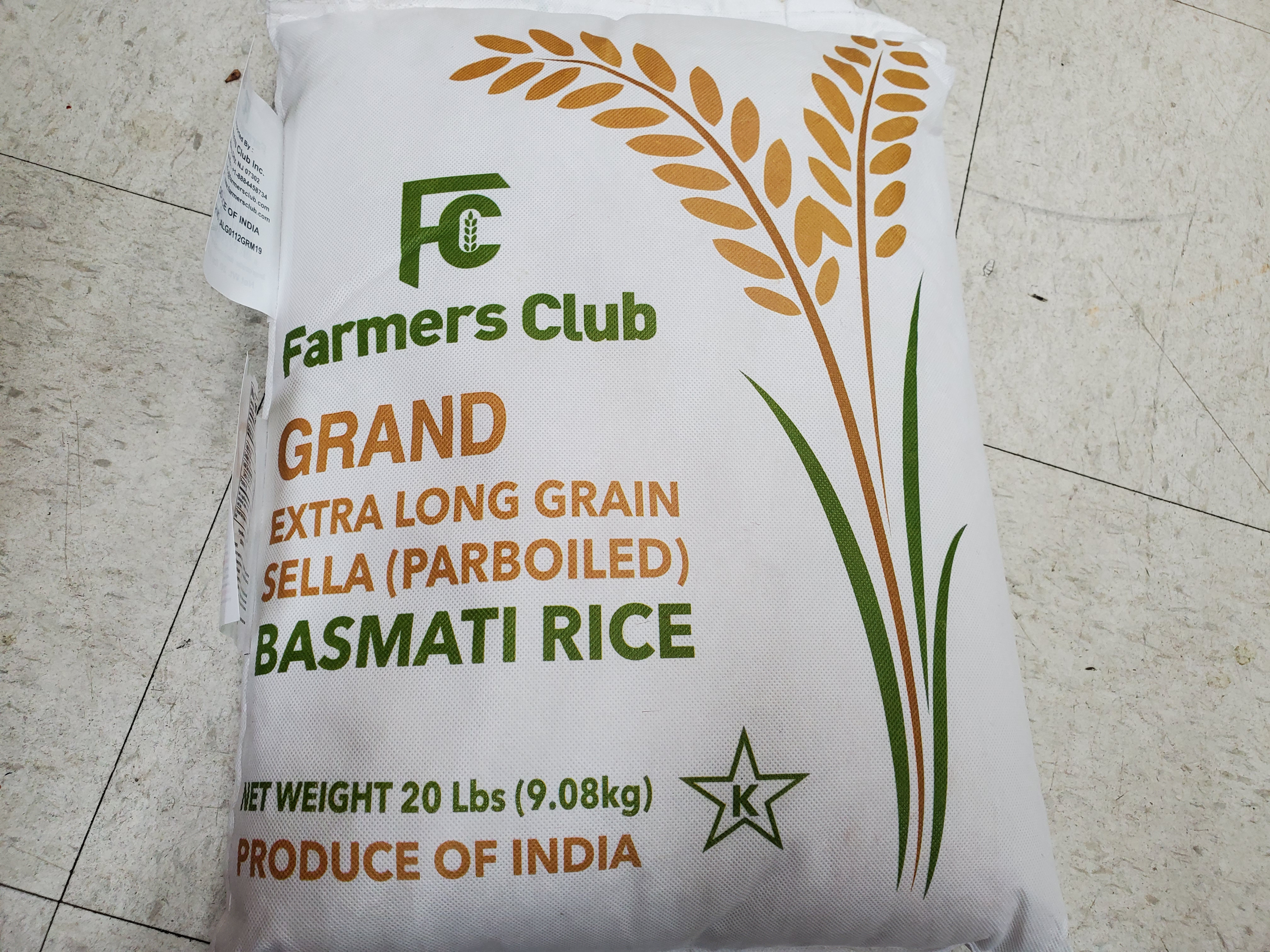 Farmers Club Basmati Rice 20lbs
