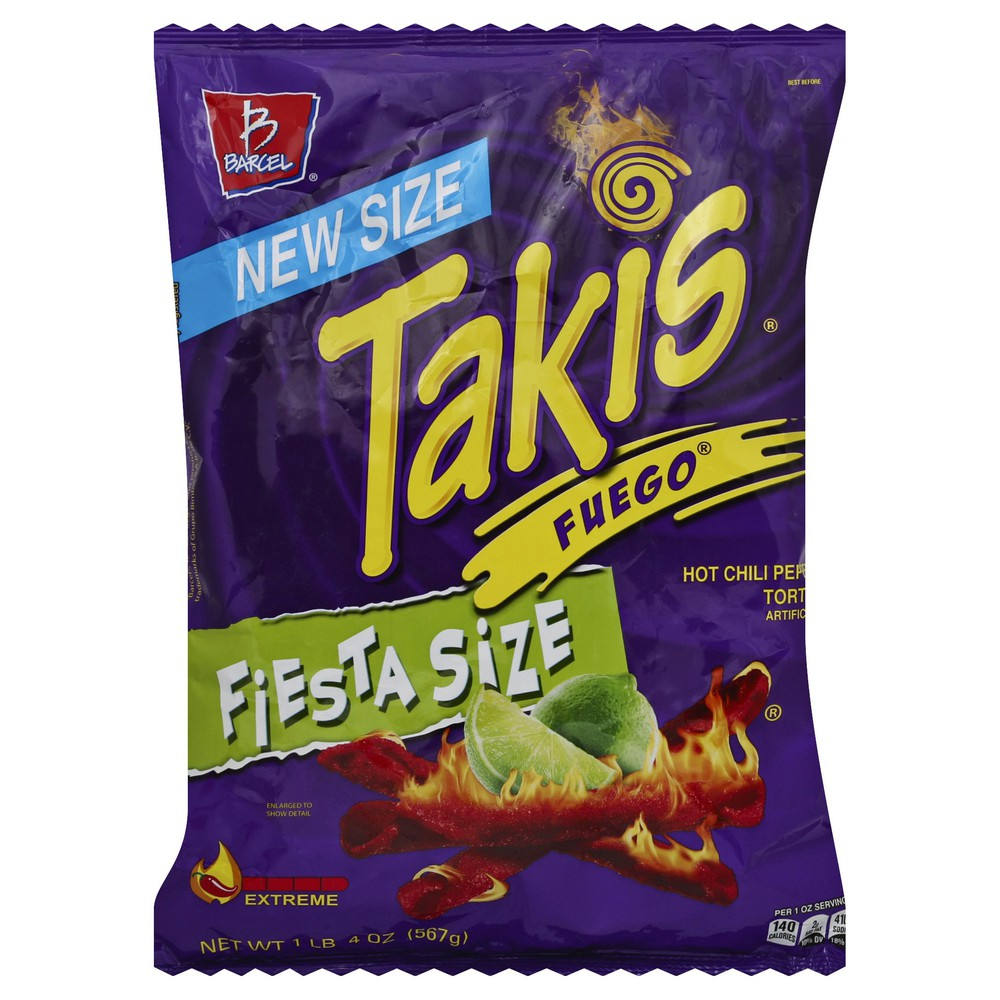 TAKIS FUEGO HOT CHILI PEPPER & LIME CHIPS (1 LB 4 OZ)