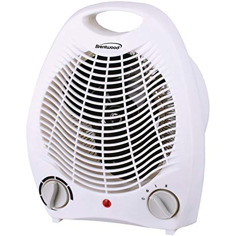 Brentwood Portable Electric Space Heater Fan WHITE