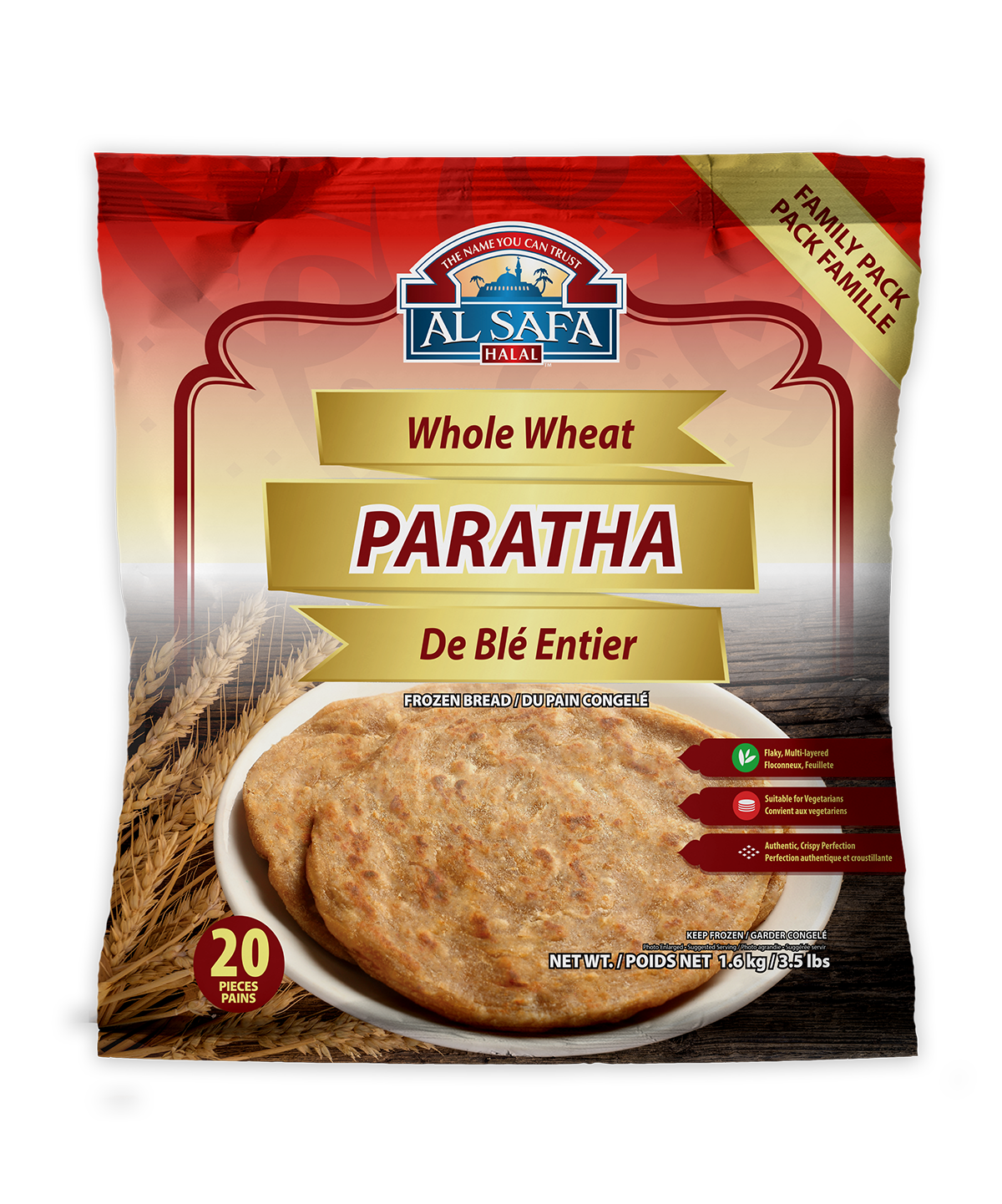 AL SAFA WHOLE WHEAT PARATHA 20 pcs