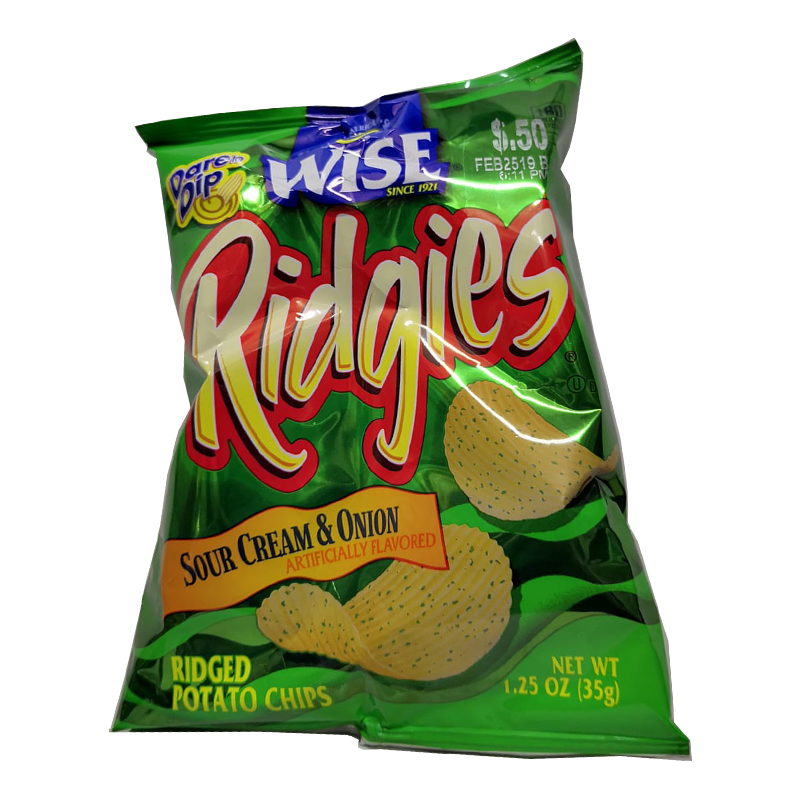 WISE RIDGIES SOUR CREAM & ONION 1.25 oz