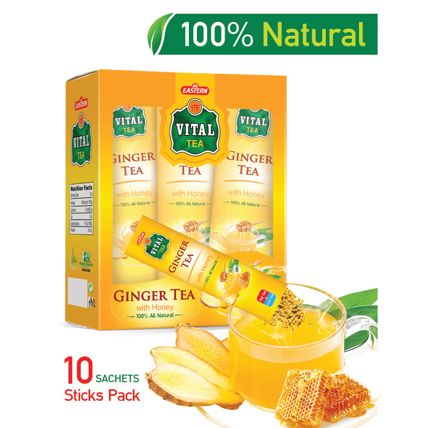 VITAL GINGER TEA WITH HONEY (10 SACHETS)